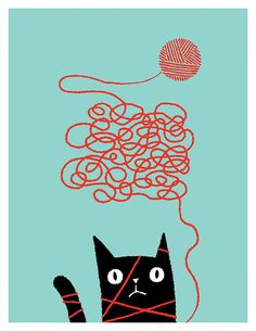 Cats. Everyone loves em. This one has loads of personality and is even cuter tangled in a ball of yarn. This illustration is a giclee 8-colour