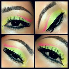 Fun makeup :) yellow, lime green and pink!!