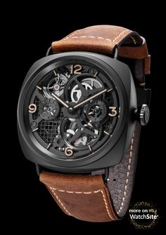 Lo Scienziato Radiomir Tourbillon GMT Ceramica - Black Ceramic - Leather Strap - Panerai