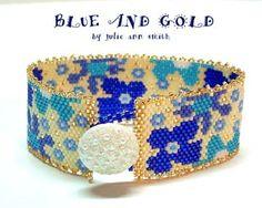 BLUE AND GOLD PEYOTE BRACELET PATTERN AT SOVA-ENTERPRISES.COM