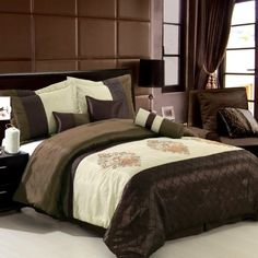 (Click to order - $79.98) King Size Comforter Set 7 Pieces - Pacifica Chocolate From Luxury Egyptian Cotton