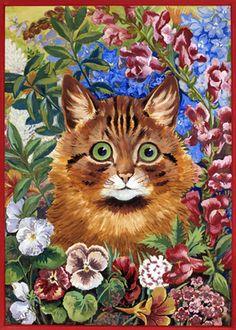 Louis Wain - Cat Amongst the Flowers