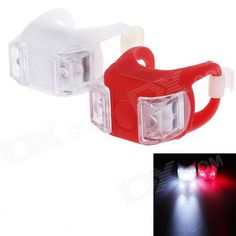 Lichao LC-7002 20lm 3-Mode 2-LED Bike Safety Frog Lamp - White   Red (2 x CR2032) Price: $4.80