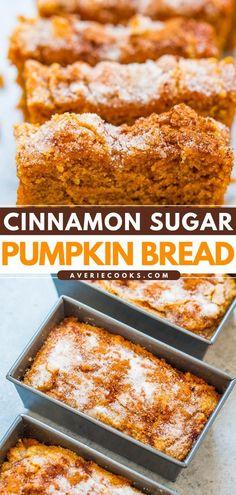 Moist Pumpkin Bread, Savory Pumpkin Recipes, Easy Bread Recipes, Sweet Recipes, Quick Bread, Mini Loaf Pumpkin Bread Recipe, Easy Pumpkin Desserts, Pumpkin Loaf, Muffin Recipes