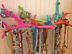 Painted antlers; jewelry display