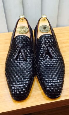 Paul Parkman Woven Leather Tassel Loafers Black