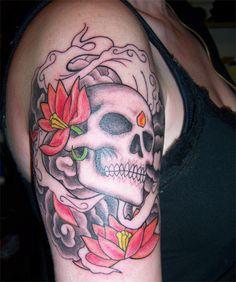 7bd04af2a8718 Beautiful Skull Tattoo Design for Shoulder   ShePlanet Skull Tattoo Design, Tattoo  Designs Men,