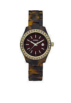 Fossil® Ladies Mini Tortoise Resin Watch #belk #accessories