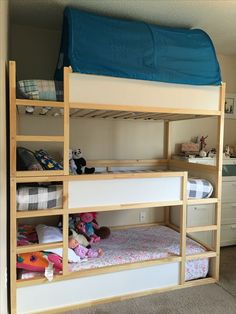94 Minimalist Bunk Beds Design Ideas - Tips for Designing the Space 11 Full Size Modern Loft Beds for Your Tiny Apartment Kura Bed, Cama Ikea Kura, Ikea Bunk Bed, Bunk Beds, Modern Boys Rooms, Shared Boys Rooms, Shared Bedrooms, Toddler And Baby Room, Toddler Rooms