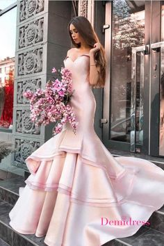 Off the Shoulder Pink Prom Dress Mermaid Long Prom Dresses Long With Sleeves, Unique Prom Dresses, Pink Prom Dresses, Beautiful Prom Dresses, Mermaid Prom Dresses, Formal Evening Dresses, Wedding Dresses, Party Dresses, Sparkly Gown