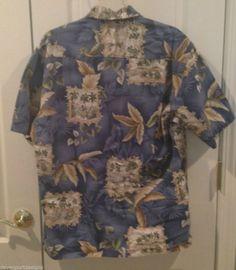 Hawaiian Shirt Short Sleeve Pierre Cardin M Hula Girl Palm Trees Boats Islands #PierreCardin #Hawaiian