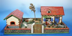 ELASTOLIN Bauernhof  mit Figuren um 1950  Masse/Holz zu Lineol   01133
