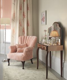 Salcott Upholstered Chair / Arielle Rose Dressing Table / Arielle Rose Triple Mirror / Curtains in Gladioli Coral : Laura Ashley