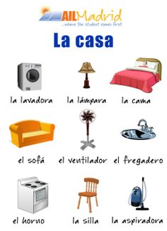 Spanish vocabulary for objects in the home Spanish 101, Study Spanish, Spanish Lesson Plans, Spanish Words, Spanish House, Spanish Lessons, Spanish Vocabulary, Spanish Language Learning, Teaching Spanish