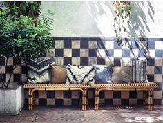 Kussen met print - jungle zwart/wit - HK Living