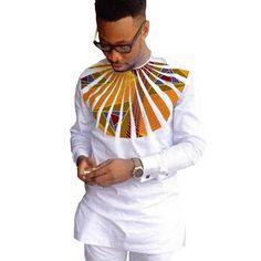 African Shirt Ankara Print Dashiki Shirt Patchwork Orange Prints-Shirt-online-shopping-Kenya-TZ-UG-S-LeStyleParfait. African Shirts For Men, African Dresses Men, African Clothing For Men, African Attire, African Wear Styles For Men, Africa Fashion, African Print Fashion, African Prints, Afro