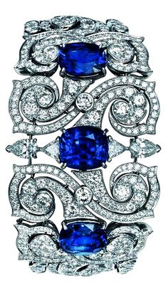 TS Cartier jewelry bracelet – platinum, sapphire, diamond -would love this as a ring!
