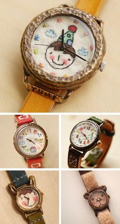 Gorgeous Embroided Watch Faces by Metaletlinnen at Etsy highlighted on Craftgo Cross Stitch Embroidery, Embroidery Patterns, Hand Embroidery, Art Du Fil, Fabric Jewelry, Watch Faces, Cool Watches, Nixon Watches, Baby Gifts