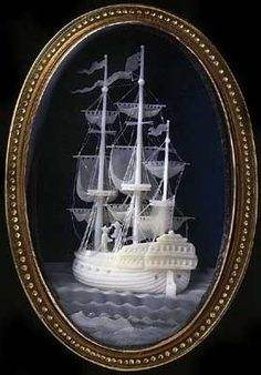 Micrograph - frigate on the high seas Ancient Jewelry, Antique Jewelry, Vintage Jewelry, Cameo Jewelry, Jewelry Art, Jewlery, Strange Magic, Vanitas, Sculpture