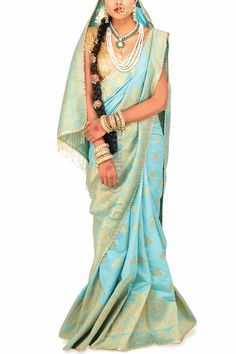 Heavenly Blue Brocade Sari with Sequins (Code - S1714) Price: INR 6990 To shop visit: http://6ycollective.com/products/S1714/