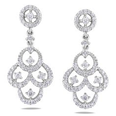 These extraordinary chandelier earrings feature round white diamonds set in 18-karat white gold. The dangle earrings are secured with butterfly backs.