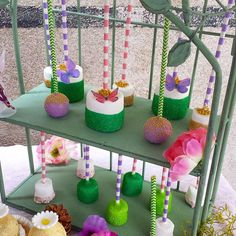 Marshmallow pops at a  Tinkerbell fairies woodland birthday party! See more party planning ideas at CatchMyParty.com!