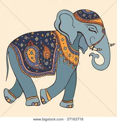 Illustration of Hand Drawn Vector illustration Elephant Indian style vector art, clipart and stock vectors. Indian Elephant Art, Thai Elephant, Tribal Elephant, Elephant Love, Wall Stickers India, Wall Stickers Animals, Indiana, Elephant Poster, Indian Arts And Crafts