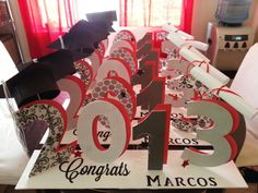 graduation table centerpieces to order email me at partywithflavor1gmailcom