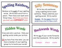 9 glorious pages of fun things to do with spelling words. THANK YOU THANK YOU!!