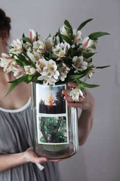 Make your flowers stand out by adding Sticky9 Prints in a clear vase