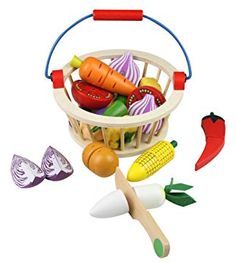 Wooden Play Food, Play Food Set, Kinds Of Vegetables, Wooden Basket, Cool Gifts For Kids, Food Names, Toy Kitchen, Group Meals, Gaming