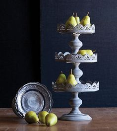 three sizes, each Jemma Pedestal Plate is a composite of two pieces - the antique-finished metal plate stand and a removable decorative glass serving plate Pedestal Cake Stand, Plate Stands, Cake Plates, Serving Plates, Cute Cakes, Home Decor Items, Dessert Table, Home Buying, Sweet Home