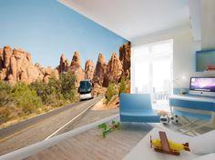 Projekt wnętrza pokoju dziecka z fototapetą na ścianie – Tissu. We wnętrzu zaprojektowano fototapetę. Kolory tapety i kolory pomieszczenia są w tej samej tonacji i tworzą spójną całość. http://www.tissu.com.pl/zdjecia/277