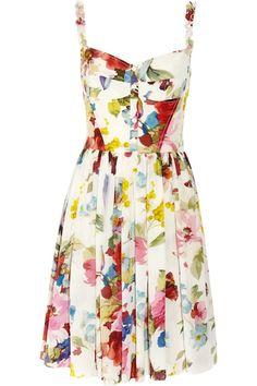 Dolce & Gabbana Floral-Print Silk Crêpe de Chine Dress