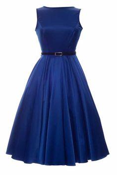 Cobalt Blue Hepburn Dress : Lady Vintage