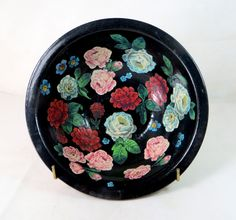 Art Deco Decoupage Bowl, Pearsons of Chesterfield Stoneware Hand-Decorated Bargeware Canal Ware Shabby Chic Roses Pottery Fruit Bowl 1940s by keepsies on Etsy £24.00
