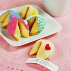 Cute little table favors.  Personalize cookie with wedding message or make up fortunes of your own.