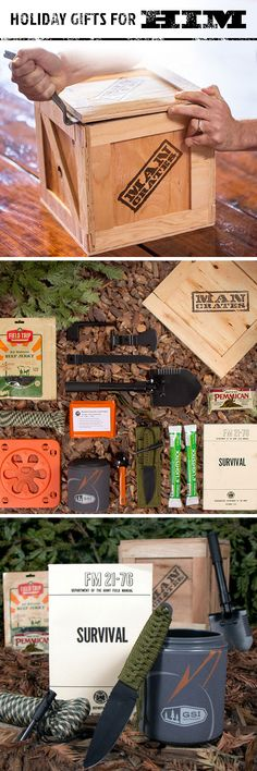 Trying to find a holiday gift that combines his love for the outdoors and staying alive? Give him the gift of preservation. The Outdoor Survival Crate has everything needed to endure whatever harrowing curveballs Mother Nature has been known to throw. Survival Prepping, Survival Skills, Holiday Gifts, Christmas Gifts, Christmas Traditions, Christmas Baskets, Themed Gift Baskets, Outdoor Survival, Gifts For Him
