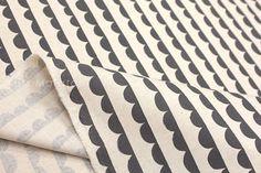 Japanese Fabric Kokka Ellen Baker - Charms - Half Round - charcoal