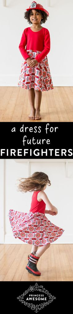 Girl firefighters will love twirling and rushing to the rescue in this bright, fire engine red dress with pockets from Princess Awesome.  Perfect for the girl who loves to save the day!