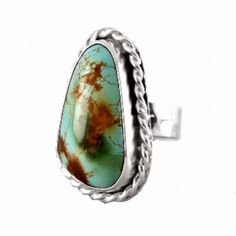 Size 7 Natural Paradise Turquoise Gemstone and Sterling Silver Statement Ring - Hippie Rings, Gypsy Rings, Bohemian Rings, Turquoise Gemstone, Turquoise Jewelry, Handmade Rings, Gemstone Rings, Jewelry Design, Sterling Silver