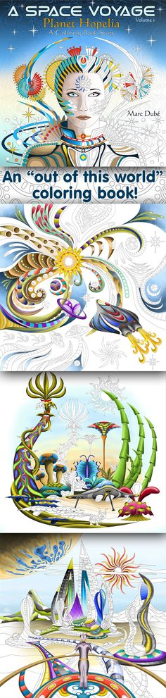 This is a coloring book for all of you 'explorers' who dream of traveling through space and visiting other worlds. Each unique illustration is a detailed image of an imagined scene in an amazing alien world. As the story unfolds, you will discover grand cities, meet amazing Beings, and encounter unusual creatures and flora. This is a high quality spiral-bound coloring book for grown ups printed on luxurious pure white 100 lbs paper.