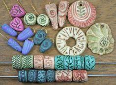 Polymer Clay beads, deep impressions by Kristi Bowman Design