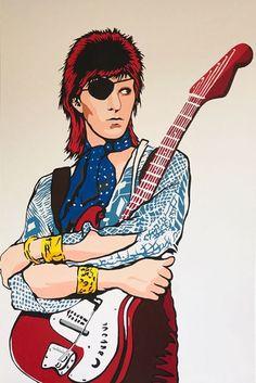"""Catharina Massaut - David Bowie Starman Dit schilderij is gemaakt in pop art stijl en heet: """"Starman"""". Het is een schilderij van de beroemde Engelse rockartiest David Bowie. Kunstenaar: C. MassautConditie: nieuwstaat.Met de hand gesigneerd.Formaat: 75 x 115 x 2 cm Materiaal: acryl op canvas. EUR 65.00 Meer informatie"""