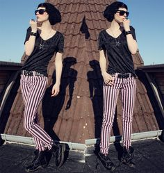 """American Apparel Shirt, Fizzy Jeans, Dr. Martens Boots //""""The Pinkstripes"""" by Nora Lovely // LOOKBOOK.nu"""