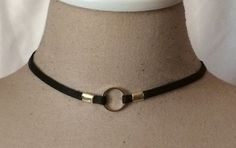 BDSM 1/4 inch wide Deerskin Leather and Gold Metal O Ring submissive Day Collar