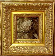 Another ornate framing of a Mark Adams oyster oil painting.