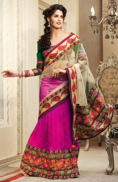 Designer Net Lehenga Saree - Net palloo with heavy border and bright rani jacquard patli. rich parsi scallop compliments the overall look. it has fancy cut and paste blouse Lehenga Style Saree, Lehenga Saree, Indian Sarees Online, Buy Sarees Online, Indian Bollywood, Bollywood Fashion, Indian Dresses, Indian Outfits, Ethnic Fashion
