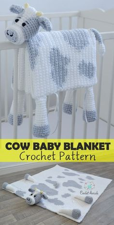 "Cuddle and Play Cow Baby Blanket Crochet Pattern is a very unique design that turns into a cow toy when folded. This crochet pattern is easy to follow an includes version for all experience levels. The crochet baby blanket is 34"" by 40"" and perfect for a cot. pram, stroller. #crochetbabyblanket #babyblanketcrochetpattern #blanketcrochetpattern #cowblanketcrochetpattern #cowbabyblanketcrochetpattern #cowcrochetpattern #cowamigurumicrochet pattern #crochetpattern"