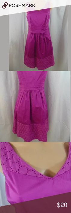 Magenta eyelet dress The limited. Purplish. Size 6 with thick waist band through middle flare buttom The Limited Dresses